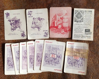 Early Bull and Bear edition of PIT - Parker Brothers card game