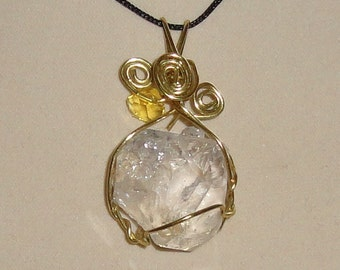Wire Wrapped Herkimer Diamond Pendant with Citrine Bead