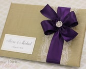 Gold Wedding Guest Book Plum ribbon Custom Made in your Colors