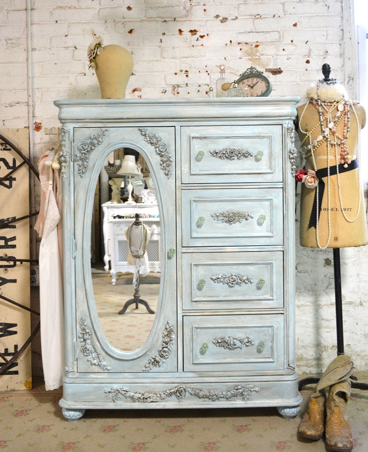 Shabby Chic Bedroom Furniture: Painted Cottage Chic Shabby Romantic French Painted Dresser