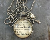 One Word Dictionary Necklace- Intentional with Cross Charm
