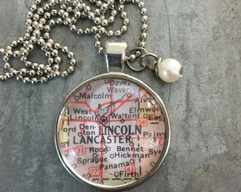 Map Pendant Necklace Lincoln Nebraska NE