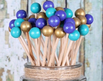 Mermaid Party Lollipop Sticks in Teal, Purple & Gold, Cake Pops Sticks, Rock Candy Sticks, Dessert Skewers, Wooden Candy Kabob Sticks (12)