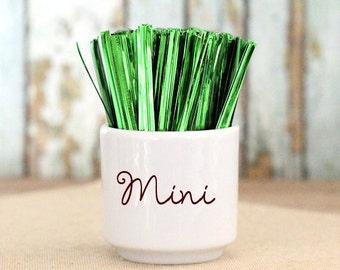 Mini Metallic Green Twist Ties, Christmas Twist Ties, Candy Buffet Twist Ties, Favor Bag Twist Ties, St. Patrick's Day Twist Ties