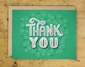 Thank You Greeting Card | Single Greeting Card | Hand Lettered | Green | Made in the USA | GC 001