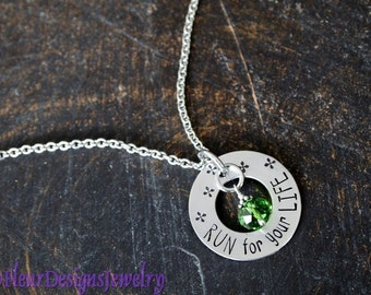 Run For Your Life Necklace, Jewelry for Runner, Hand Stamped Runner's Necklace, Inspirational Jewelry