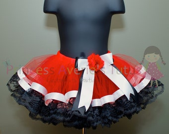CUSTOM MADE Red Tutu with White ribbon trim and Black Lace. Red, Black and White Tutu