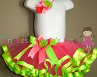 Garney tutu with Lime Trim CUSTOM MADE SET Simply Sweet Tutu Headband Set Newborn to 5 years