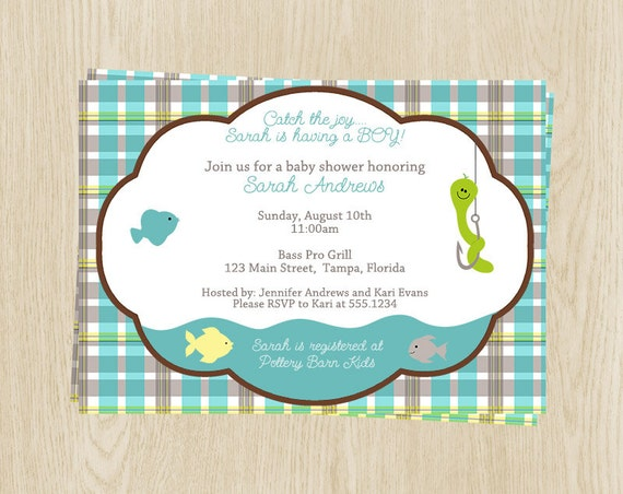 fishing baby shower invitations gingham sprinkle plaid aqua