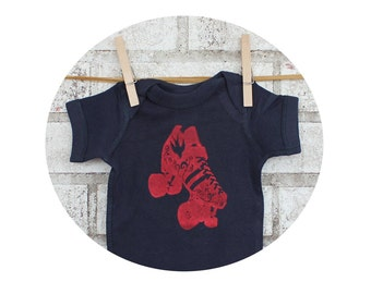 Navy Blue Baby Onepiece Bodysuit Hand Screenprinted With A Roller Skate, Short Sleeved Romper, Cotton Infant Clothing Roller Derby Baby Gift