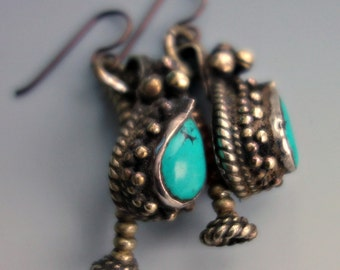 Vintage Turquoise Brass Tribal Nepal Earrings