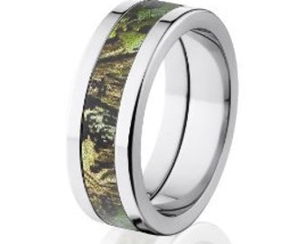 Flat Obsession Mossy Oak Camo Wedding Ring, Mossy Oak Camo Rings: 8P-OB