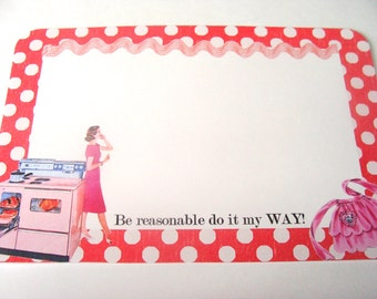 Red Recipe Cards  - Set of 12 - Retro Housewives  -  1950's Housewives - Sarcastic Cards - Polka Dot Cards - Retro Kitchen - Cookimg Cards