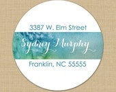 Watercolor Blues - Custom Personalized Address Labels or Stickers