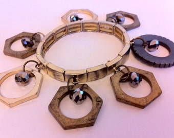 Steampunk Industrial Metal Charm Bracelet - Up-cycled bolt rings & metallic beads