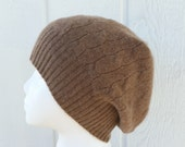 100% Pure Cashmere Cabled Beanie Tan - SO Soft and Cozy Winter Hat  Women or Men M/L -  by Tejidos on Etsy Upcycled Sweater Hat