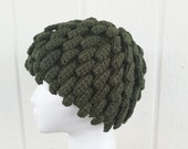 Nudu Bamileke Beanie In Army Green - Billy G Inpired Hat -- by Tejidos on Etsy Fits 22.5 in to 23.5 in Ready to Ship