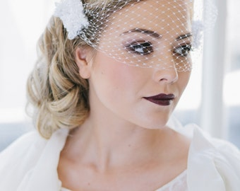 Wedding bridal modern vintage birdcage Veil -  Bessie White Birdcage veil  - Made to Order