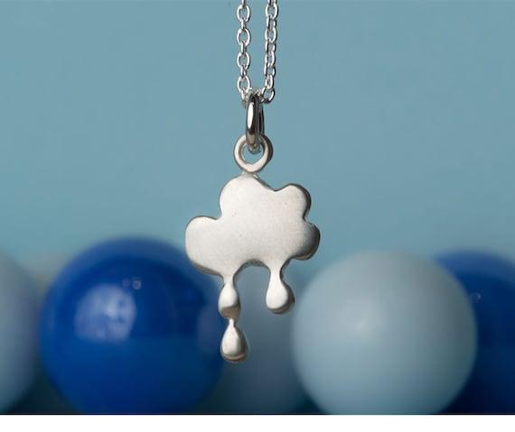 Cloud Charm Necklace Cloud Pendant Lightning rain drops pendant sterling silver necklace cloud charm bad weather gift winter rain earrings