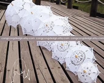 Diameter(opened)20cm(7.8inch)/32cm(12.6inch)/37cm(14.6inch)/46cm(18inch)Lace parasol.baby shaower decoration.