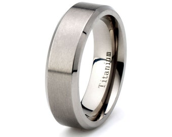 Mens Titanium Wedding Band,Brushed Titanium Ring,His,Hers,Titanium Anniversary Rings,Bands,Custom Titanium Rings, Free Laser Engraving