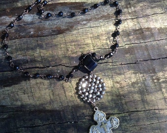 Upcycled Vintage Black Spinel Religious Assemblage Necklace,ooak,repurposed,Steel Cut Button