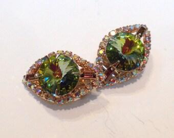 Green Rivoli Earrings Aurora Borealis Rhinestones