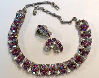 Lisner Red Rhinestone Necklace Earrings Aurora Borealis