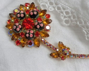 Juliana Polka Dot Bead Flower Brooch Orange Rhinestones
