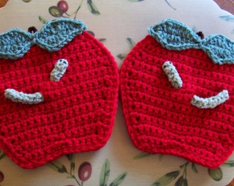 Crocheted pair of Apples, yikes, each has a Worm Wall Hangings /  Potholder