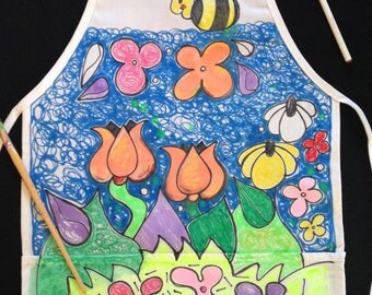 Garden Apron. For all ages.  Ties in back allowing all sizes to wear, machine washable.  Two pockets in front.