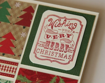 Christmas Card, Wishing You a Very Merry Christmas Card, Patchwork Paper Christmas Card with Trees Holly Polka dots (CC1403)