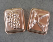 Lot of 2 Vintage Copper Rectangular Jello Grapes and Bird Molds