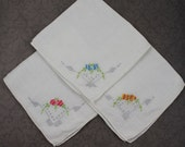 Set of 3 Vintage Embroidered Floral Handkerchiefs