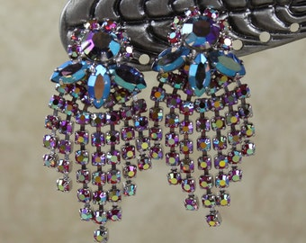 Vintage Multi Strand Fuschia and Blue AB Finished Clip On Earrings