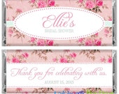 Rose Bouquet Pink Shabby Chic Bridal Wedding Shower Birthday Party Favor Candy Bar Wrapper