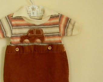 Vintage 1960s 1970s Baby Romper with Car Applique - Size 0-3 Months