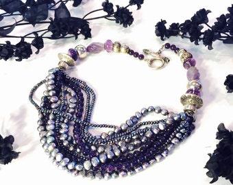Beautiful BlackTahitian Pearl Carved Amethyst Sterling Silver Vintage Bib Festoon Necklace