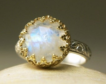 Gold Rainbow Moonstone Ring, Sterling Floral Band, Engagement Ring, Vintage Style, Handmade Jewelry, custom sized