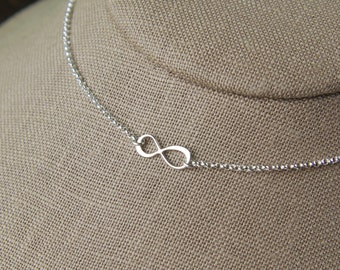 Tiny infinity necklace in sterling silver, infinity necklace, sterling silver infinity, eternity necklace, infinity symbol
