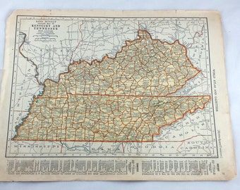 Vintage Kentucky Map Etsy - Kentucky tennessee map