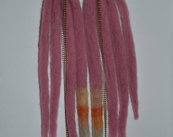 Rose Pink Stripe Dreadlock Chain Needle Felt Fiber Earrings Long OOAK