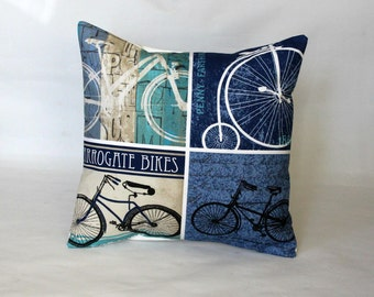 Pillow bike bicycle penny farthing vintage feel cushion cover black green blue beige decorative pillow 16 x 16