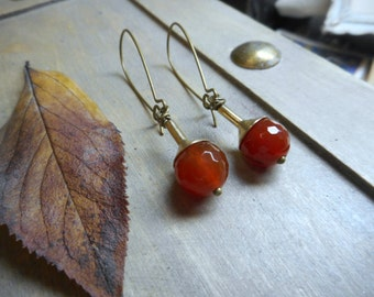 Fireberries. Deep Red Carnelian Faceted spheres and brass edgy ooak handmade unique earrings. Gift for her