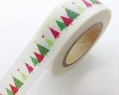 Adorable Red Green Christmas Tree Washi Tape Holiday Packaging DIY Paper Craft Gift Wrapping Masking Tape