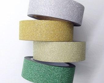Mini Glitter Washi Tape Silver Gold Green Glitter Tape