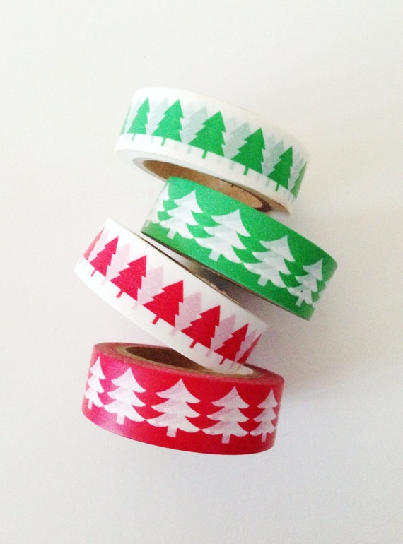 Christmas Holiday Trees Washi Tape Red Green Gift Wrap