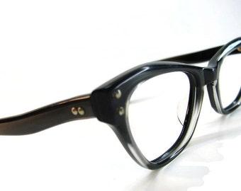 Vintage 50s Charcoal HornedRim Cateye Eyeglasses Eyewear Frame NOS