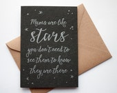 Mothers Day letterpress calligraphy card - Mums are like stars
