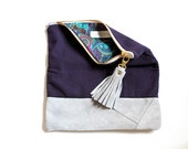 ELODIE leather clutch, fold over clutch in eggplant and blue